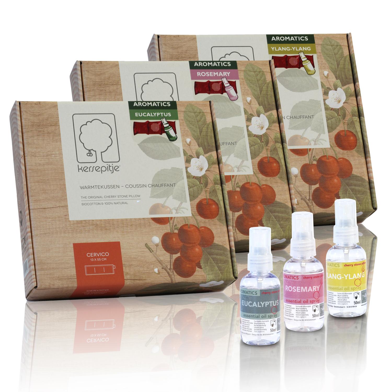 De collectie Kersepitje Aromatics, bestaat uit een Kersepitje Cervico inclusief één van de drie aromatische oliën in een 50ml spay.